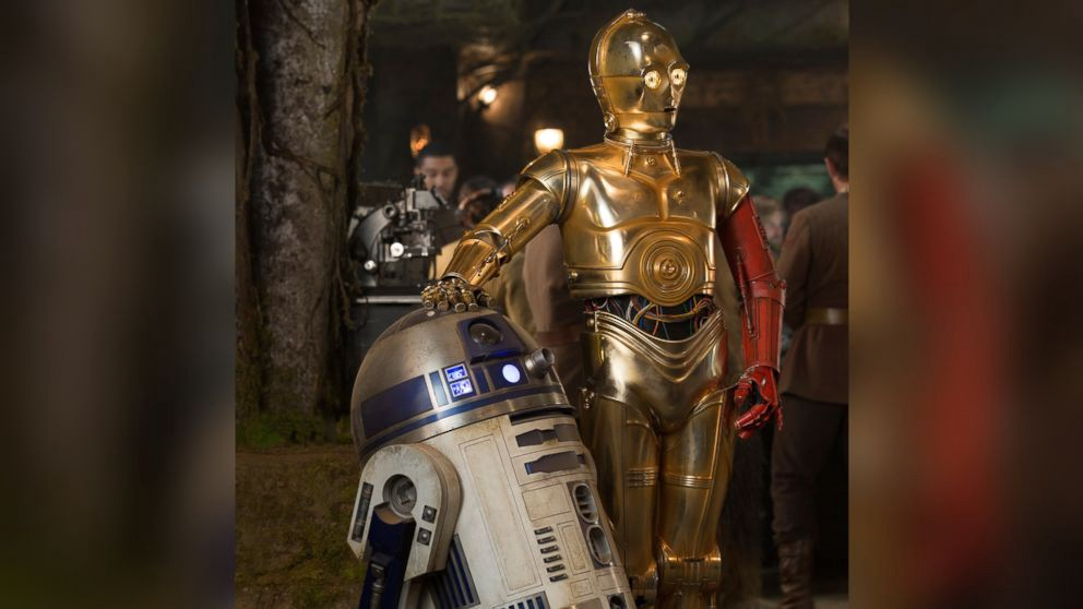 An image of R2-D2 and C3PO standing next to each other, an image still taken from the movie Star Wars.