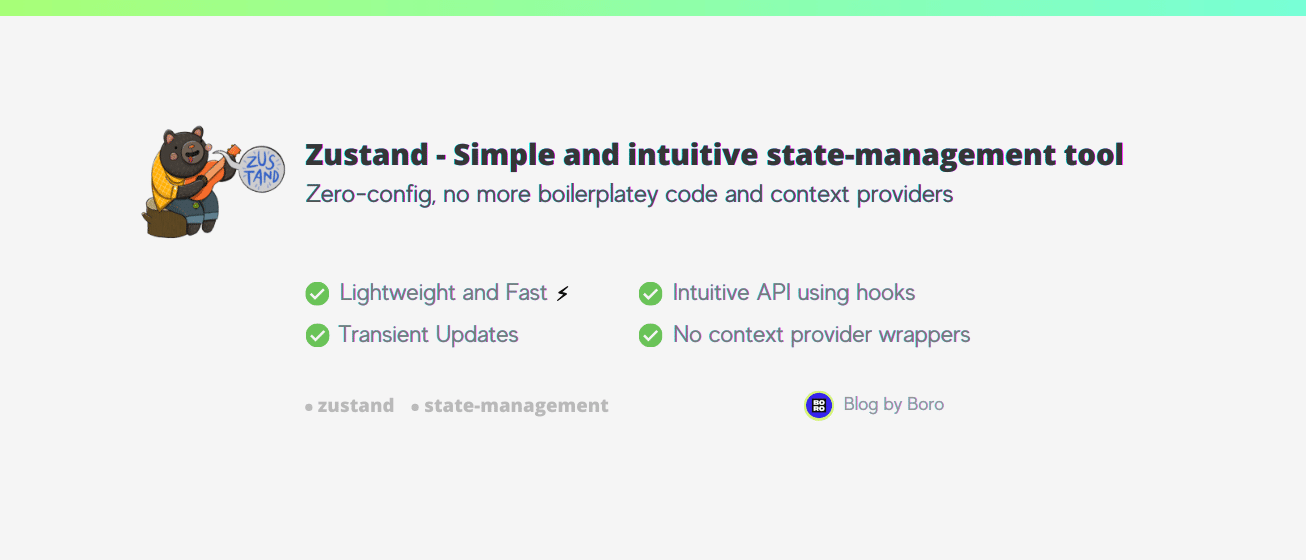 Zustand — A simple, fast, and convenient state-management solution using Hooks API.