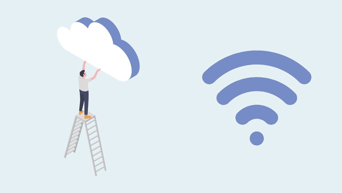man on ladder putting a cloud in place beside a wi-fi signal