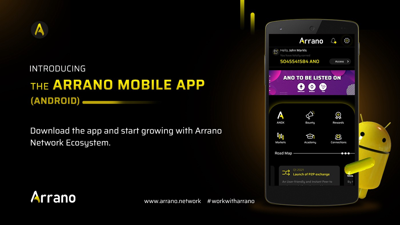 Arrano Network mobile app is live on android app. You can downlaod and authorize your ANO funds and enjoy the simplified Crypto financing solutions.