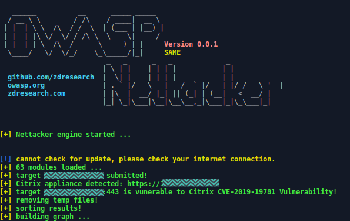 OWASP Nettacker screenshot showing detected and vulnerable Citrix device