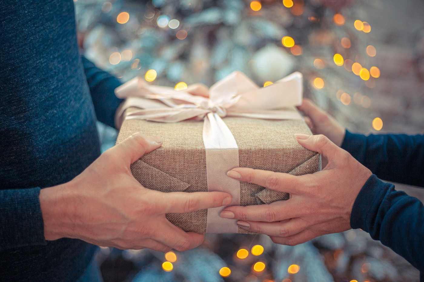 Two people hold a present wrapped with a bow
