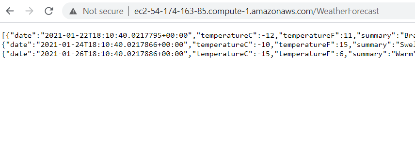 Container running on AWS