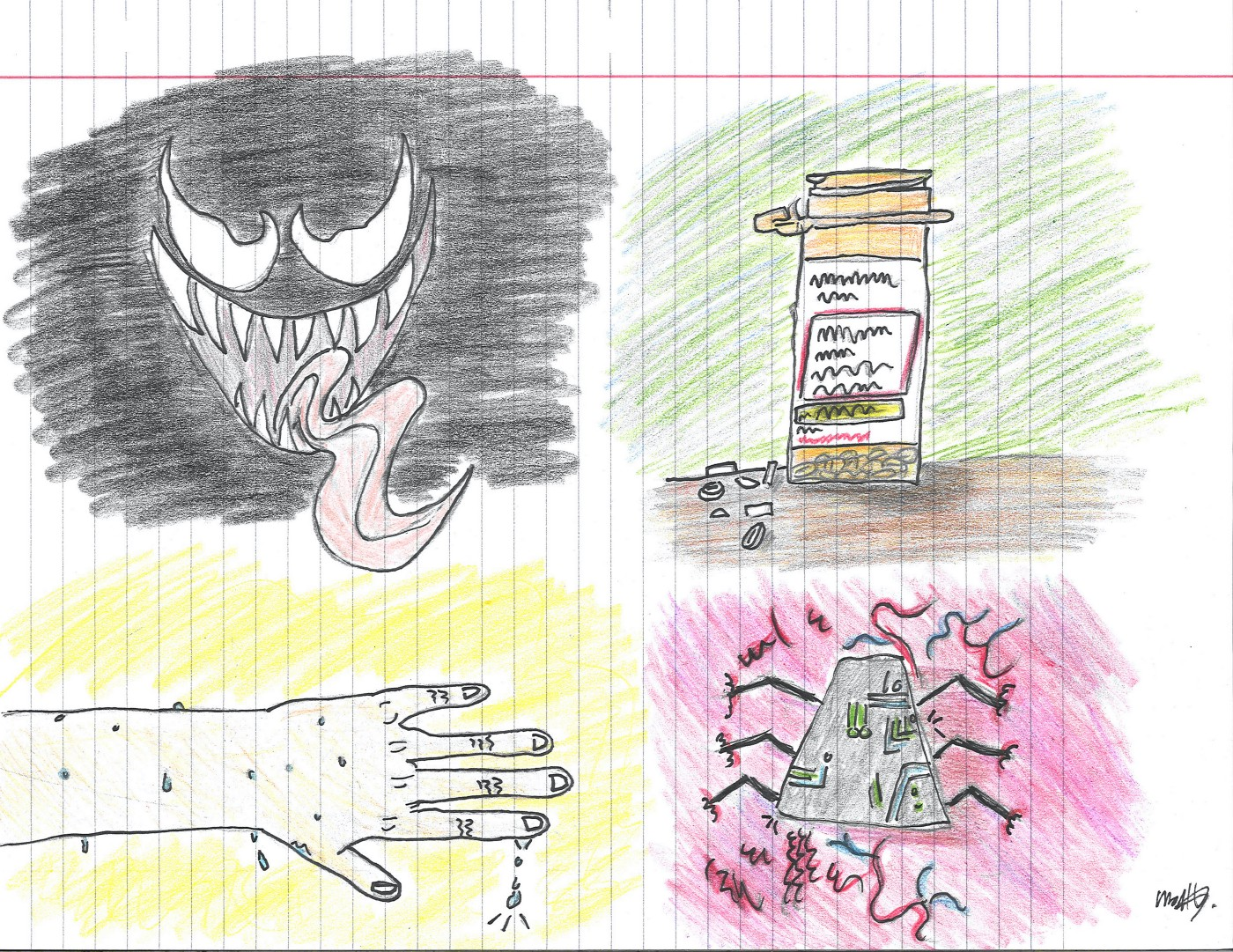 """""""Venom""""'s face (top left), a pill bottle (top right), a sweating hand (bottom left), and """"STEM"""" atop flesh (bottom right)."""