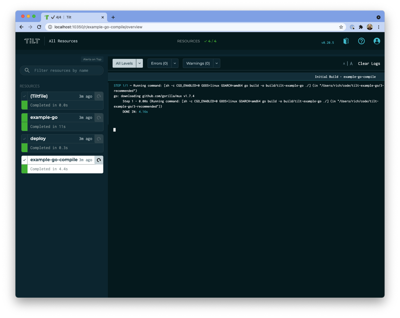 Screenshot of the Tilt UI showing the log entries for a resource