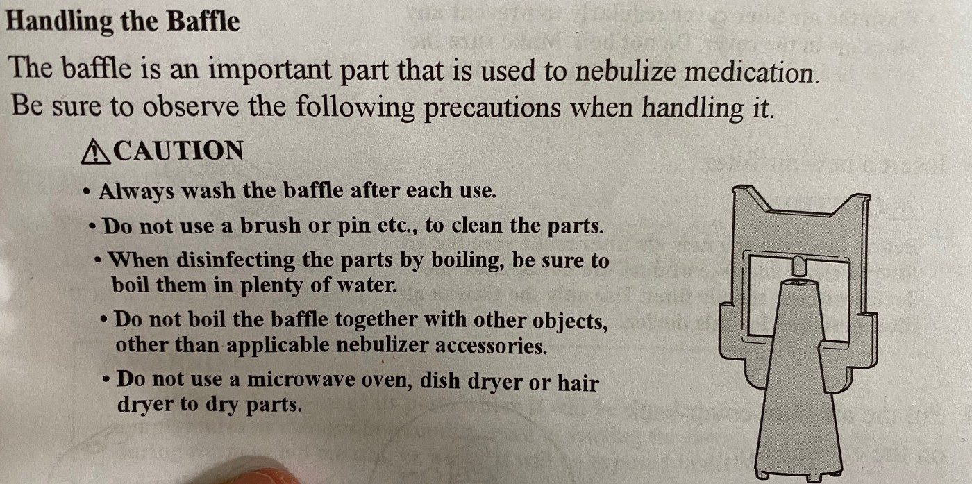 Excerpt from nebulizer instruction booklet that explains how to handle the baffle.