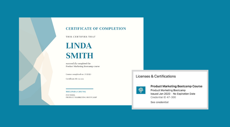 Product marketing certificates from the Product Marketing Bootcamp course