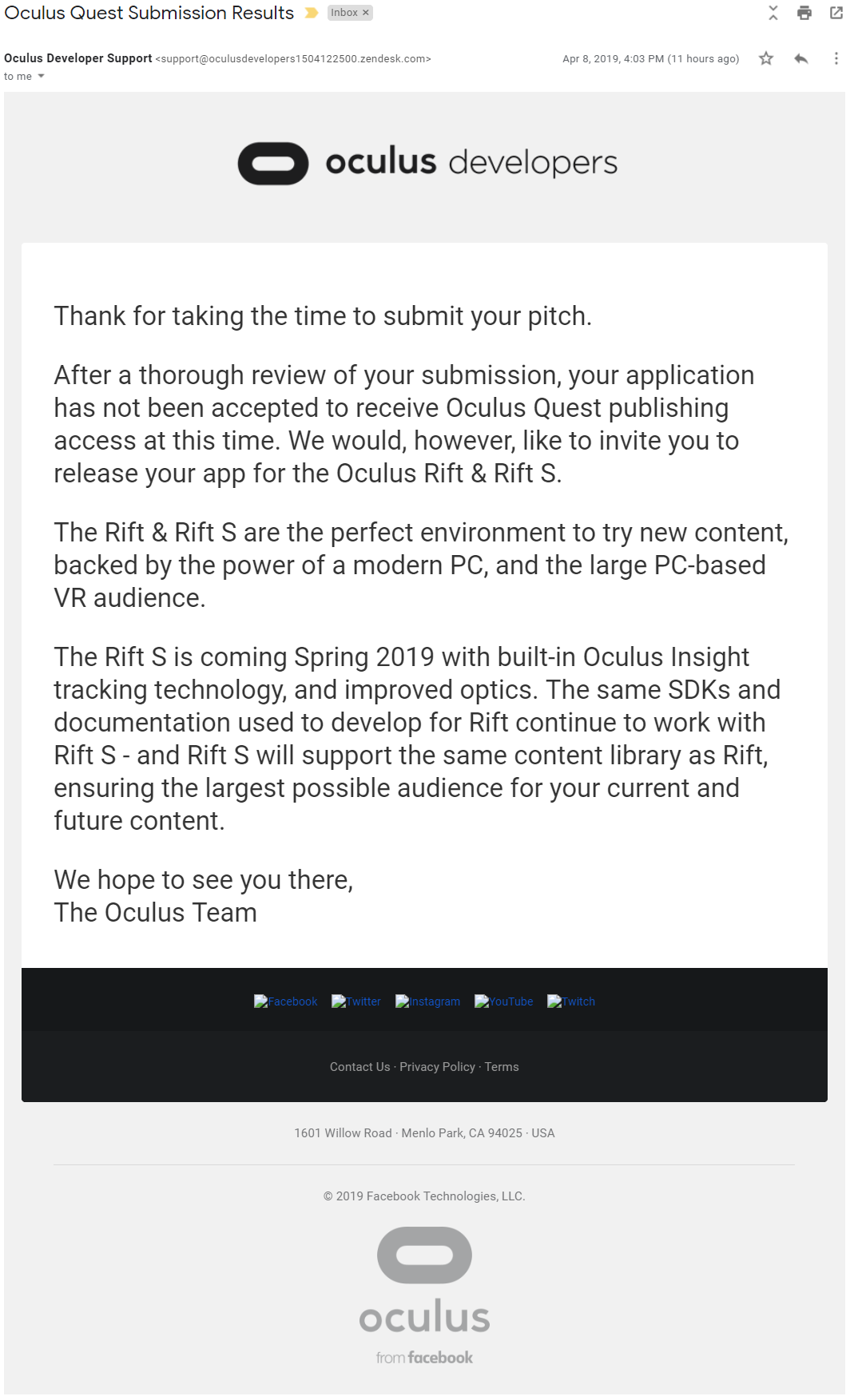 My application to become an Oculus Quest developer was denied by Oculus