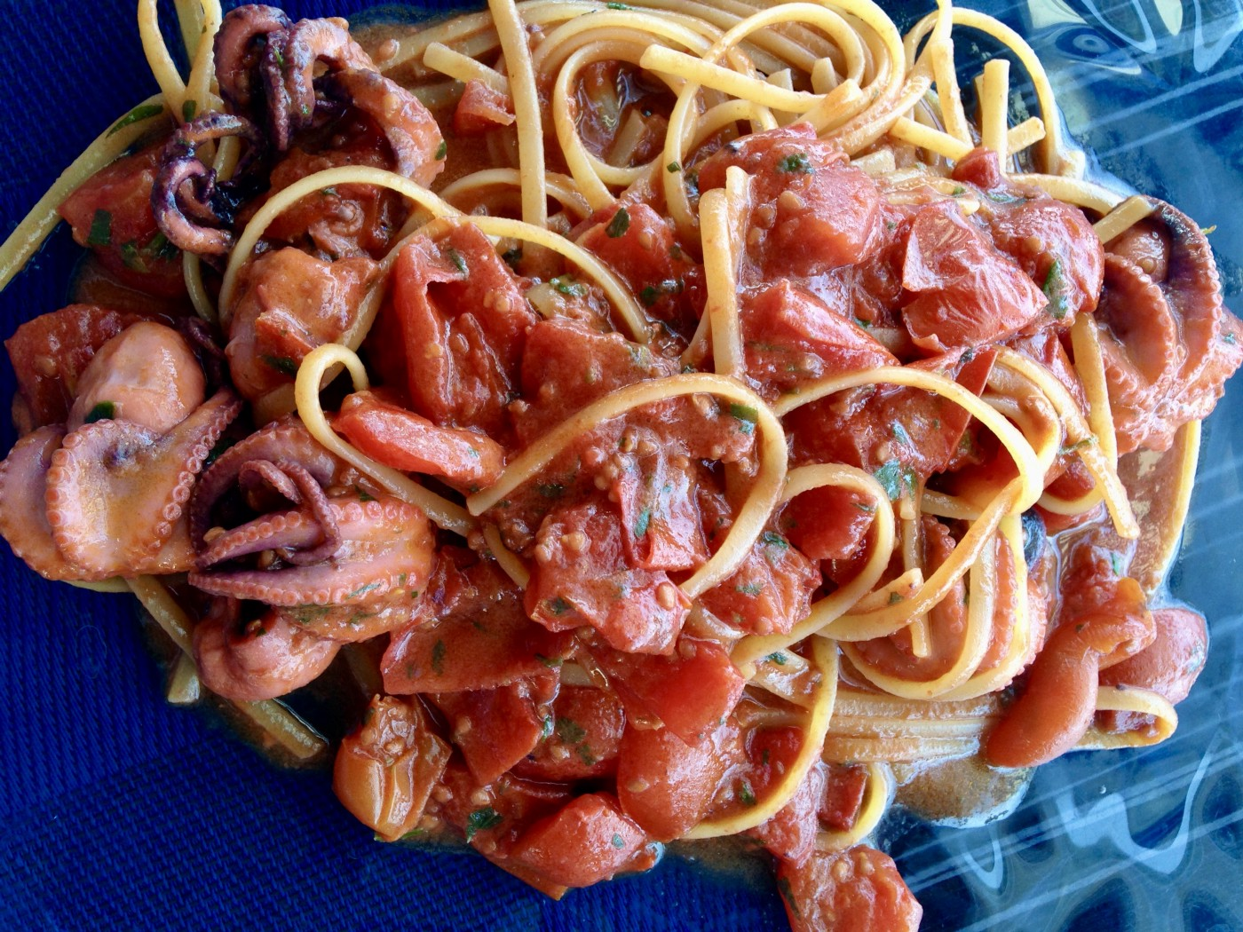 Pasta with octopus and tomatoes. Photo by Francesca Di Meglio