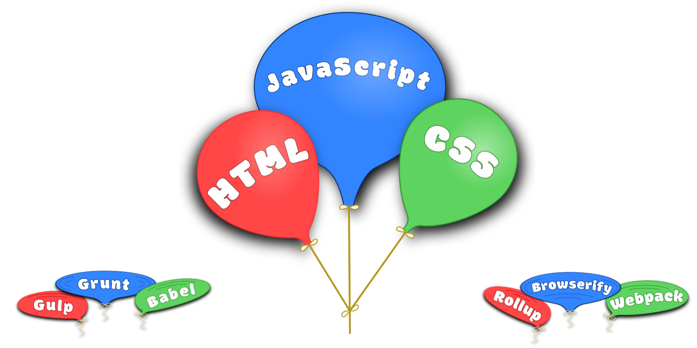 Three balloons — HTML, JavaScript and CSS
