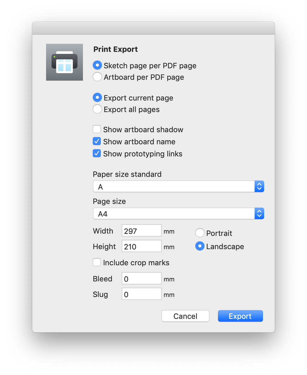 Export Artboards and pages for print with this official plugin from
