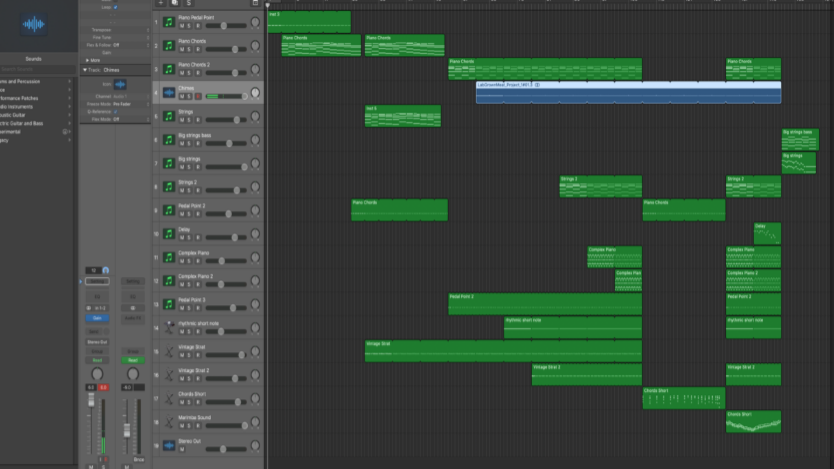 Logic Pro X Score: Screenshot of Entire Composition Outlining Exact Instruments