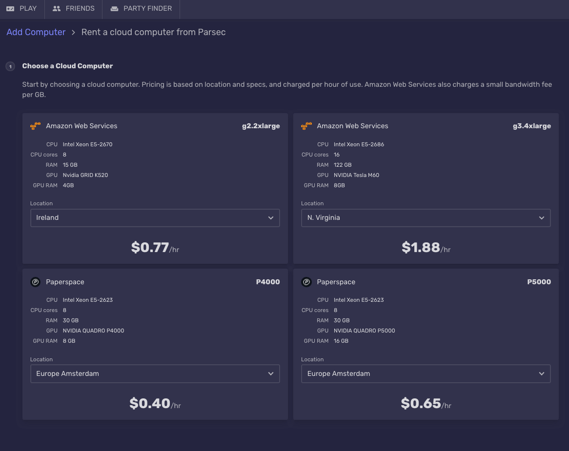 Parsec, Paperspace and Shadow: cloud gaming providers value for
