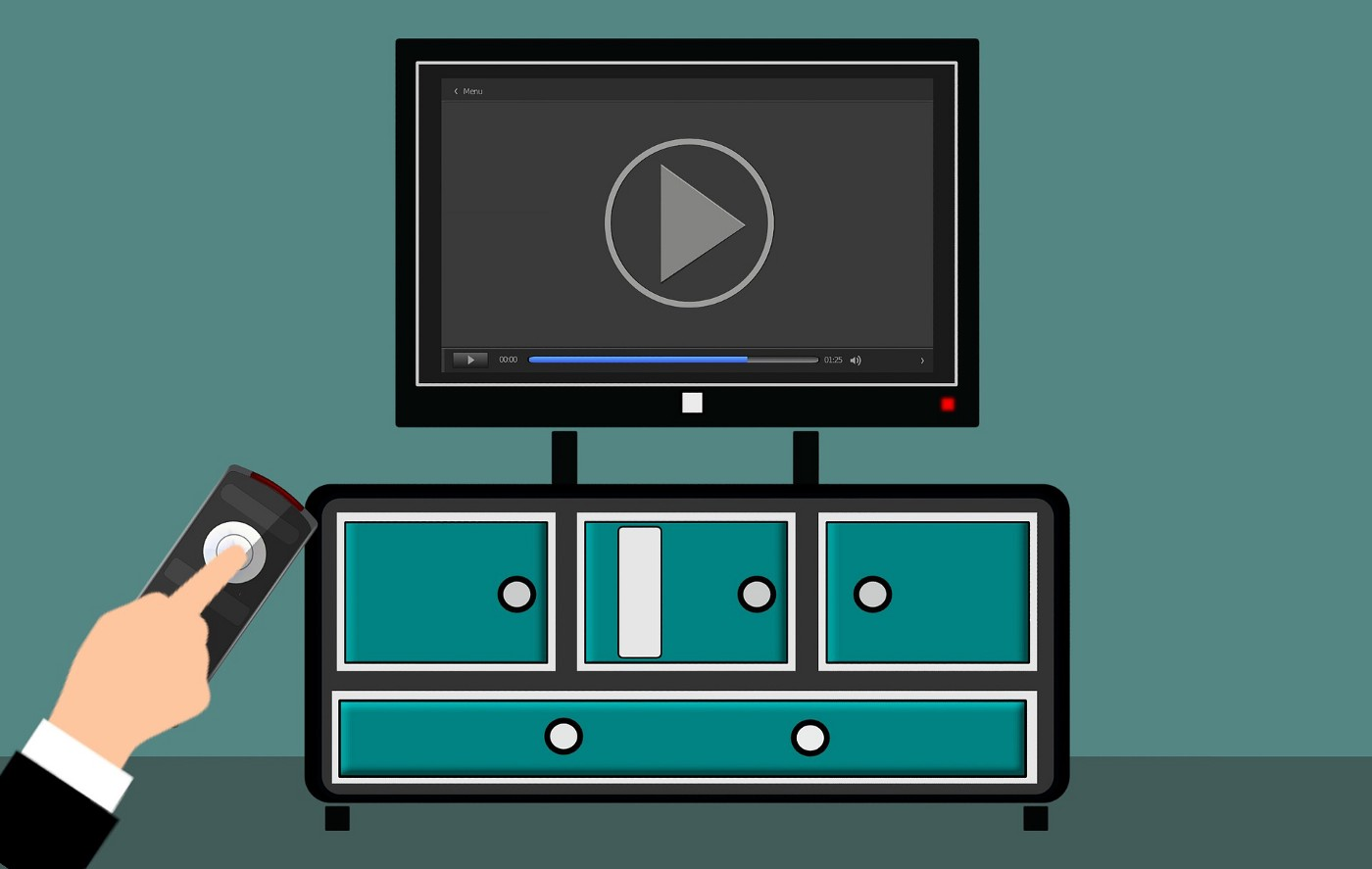 Cartoon of a TV about to hit play on a streamed program