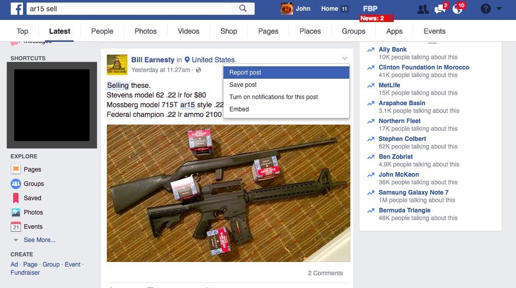 Chasing Guns From Facebook Part II: Reporting Individual Posts