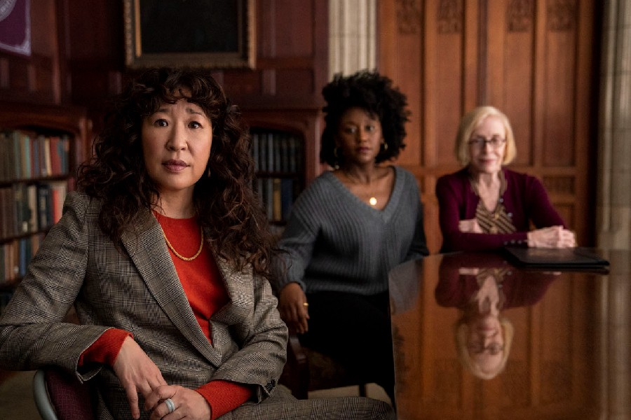 """A photo of Sandra Oh, Nana Mensah and Holland Taylor in """"The Chair""""."""