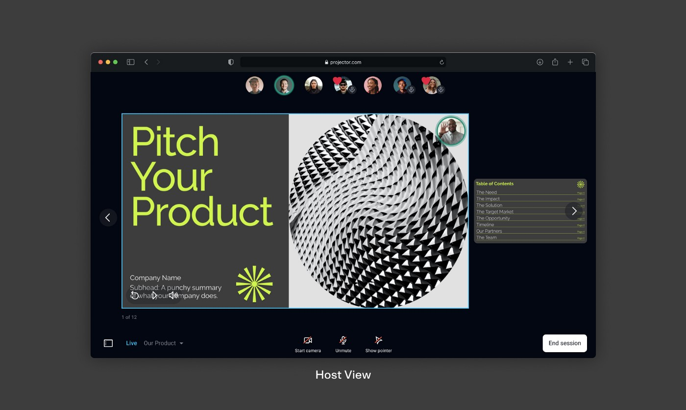 A screen shot of the host view in a Live Session, where you can drive a synchronized viewing experience for your audience.