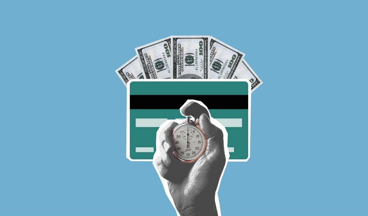 a blue background with american dollars, a credit card and a hand holding a timer,
