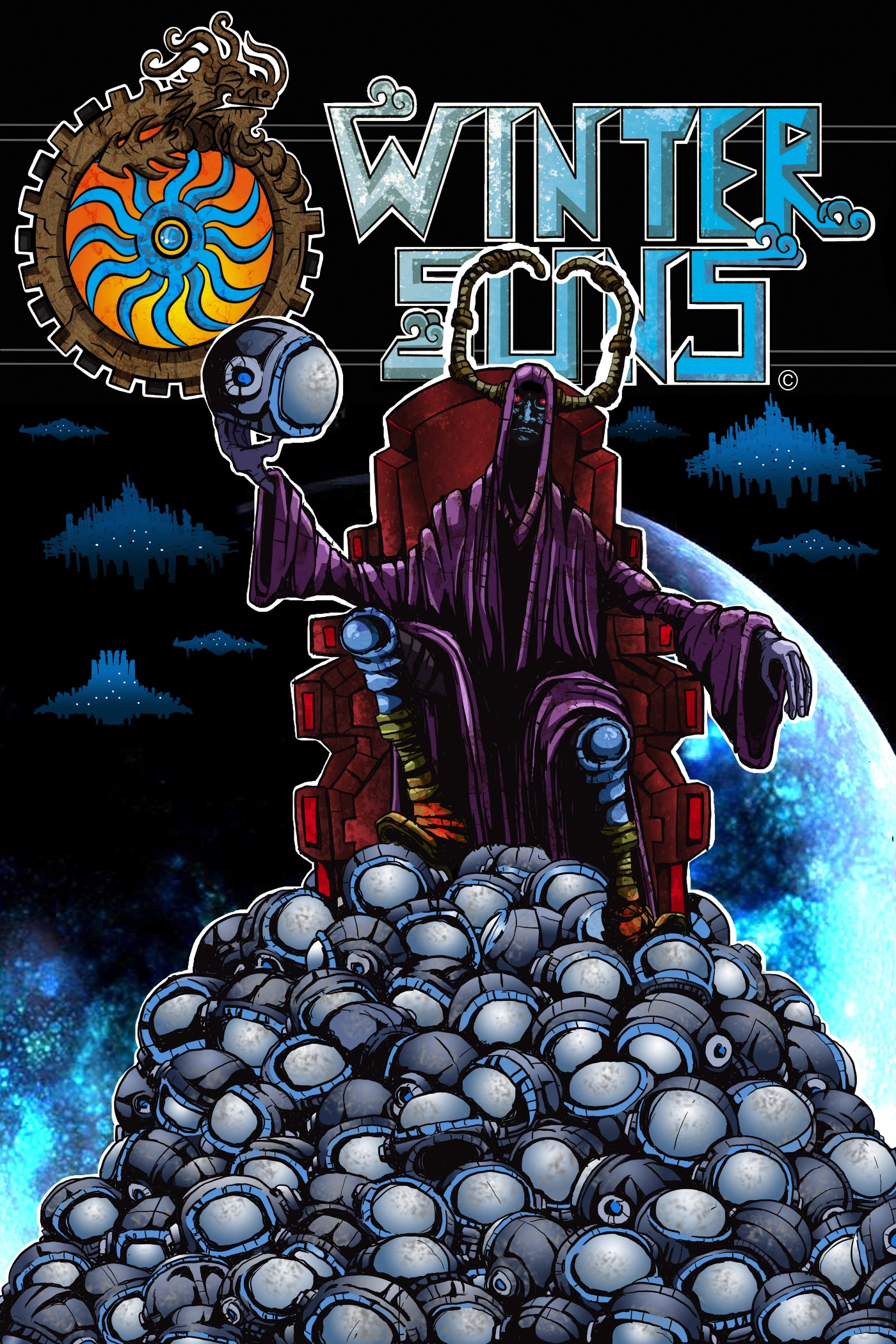 A mysterious robed being sits in a throne atop a mountain of space helmets.