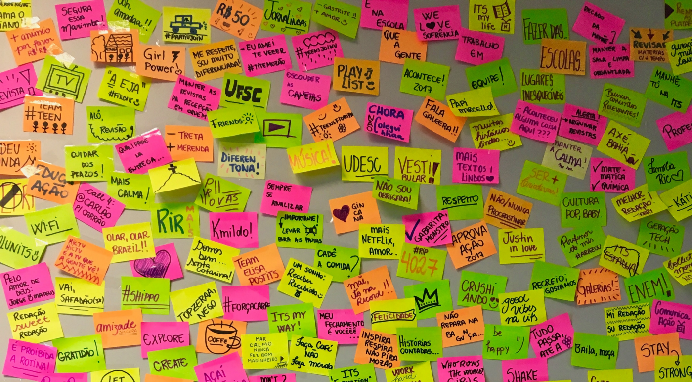 A wall with many post-it notes