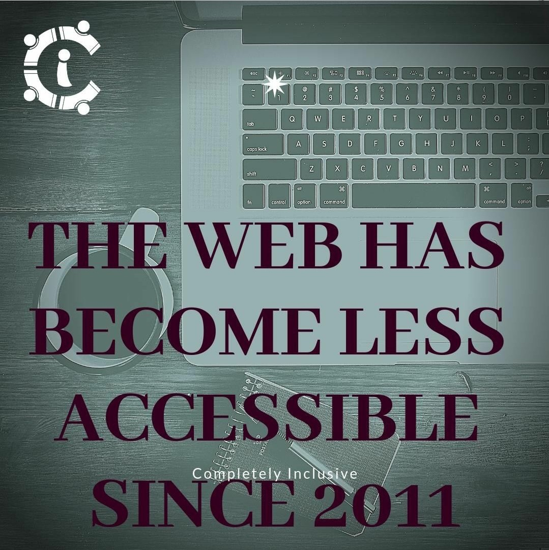 A background with a top view of a laptop keyboard and text that reads, the web has become less accessible.