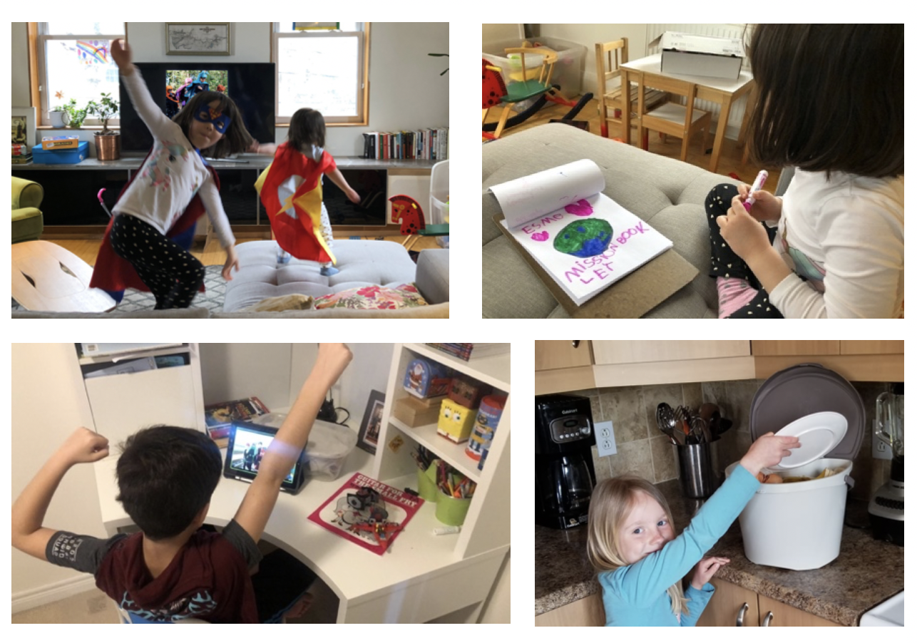 Four images of kids: two pretend to be superheroes, one draws, one makes a superhero pose, one puts compost in a bin.