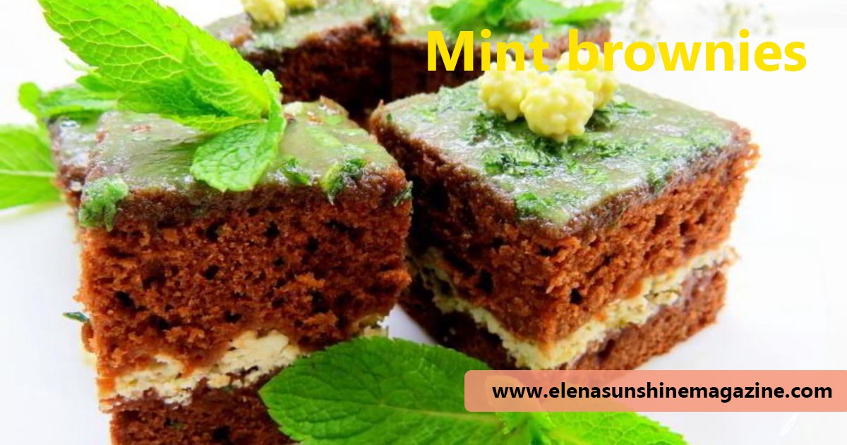 Brownies with mint and nuts