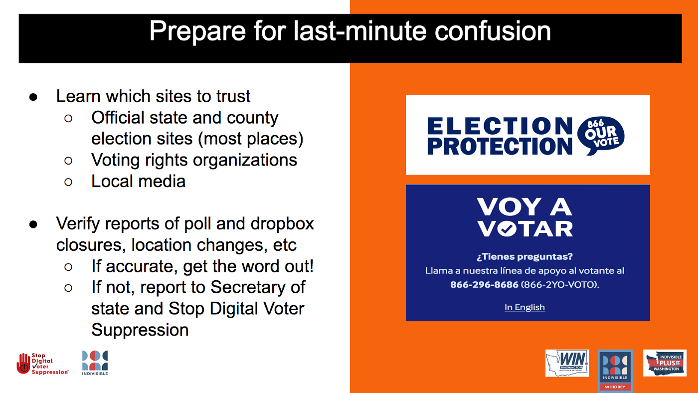 Prepare for last-minute confusion. Learn which sites to trust—Election Protection 866-OUR-VOTE, Voy A Votar 866–2YO-VOTO