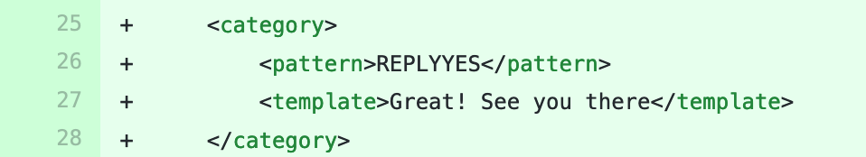 Code diff from a bot file.