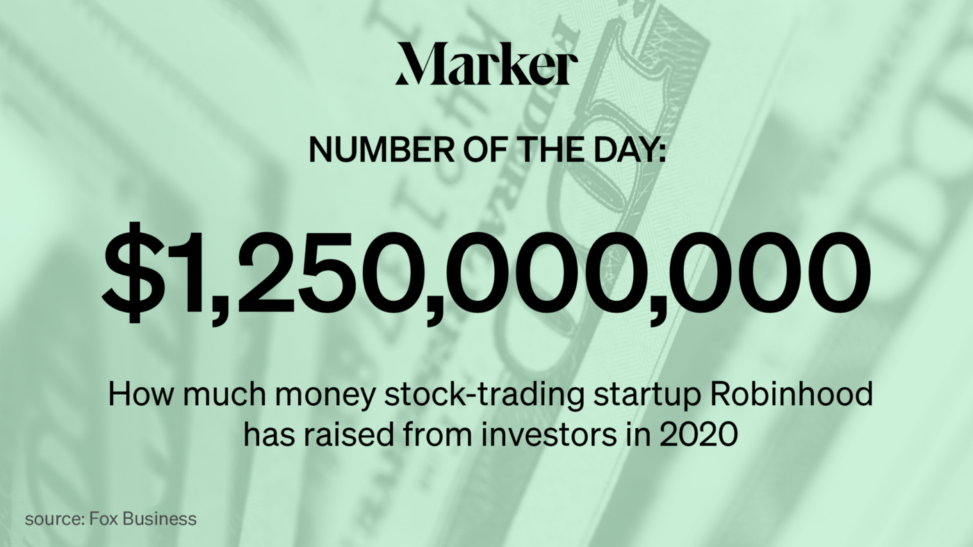 Marker # of the Day: $1.25 Billion—How much money stock-trading startup Robinhood has raised from investors in 2020