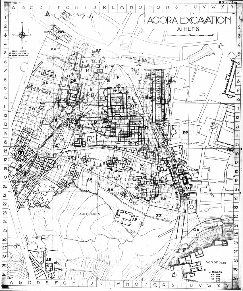 Agora Excavation (1973 and 1975) sections with grid lines in sections by John Travlos (1953–4)