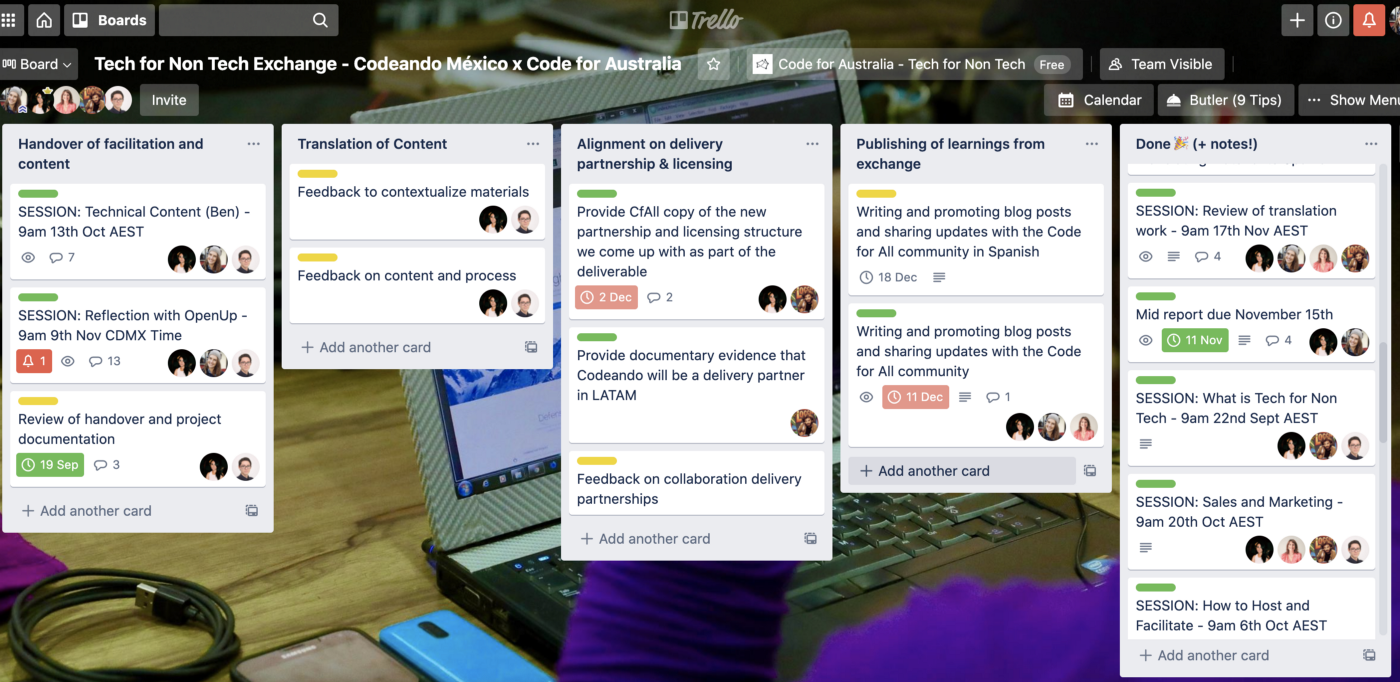 Trello board used for our exchange