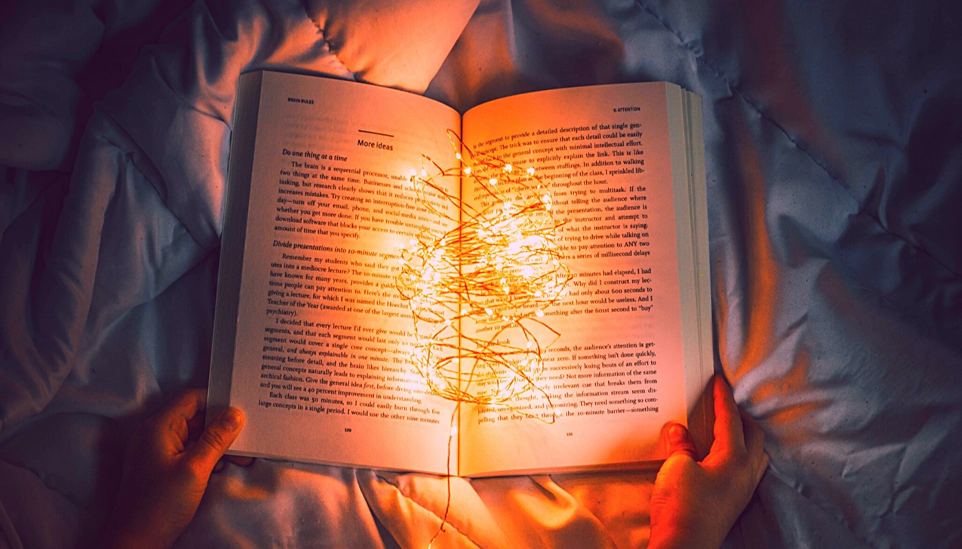 Image of book with lights in it