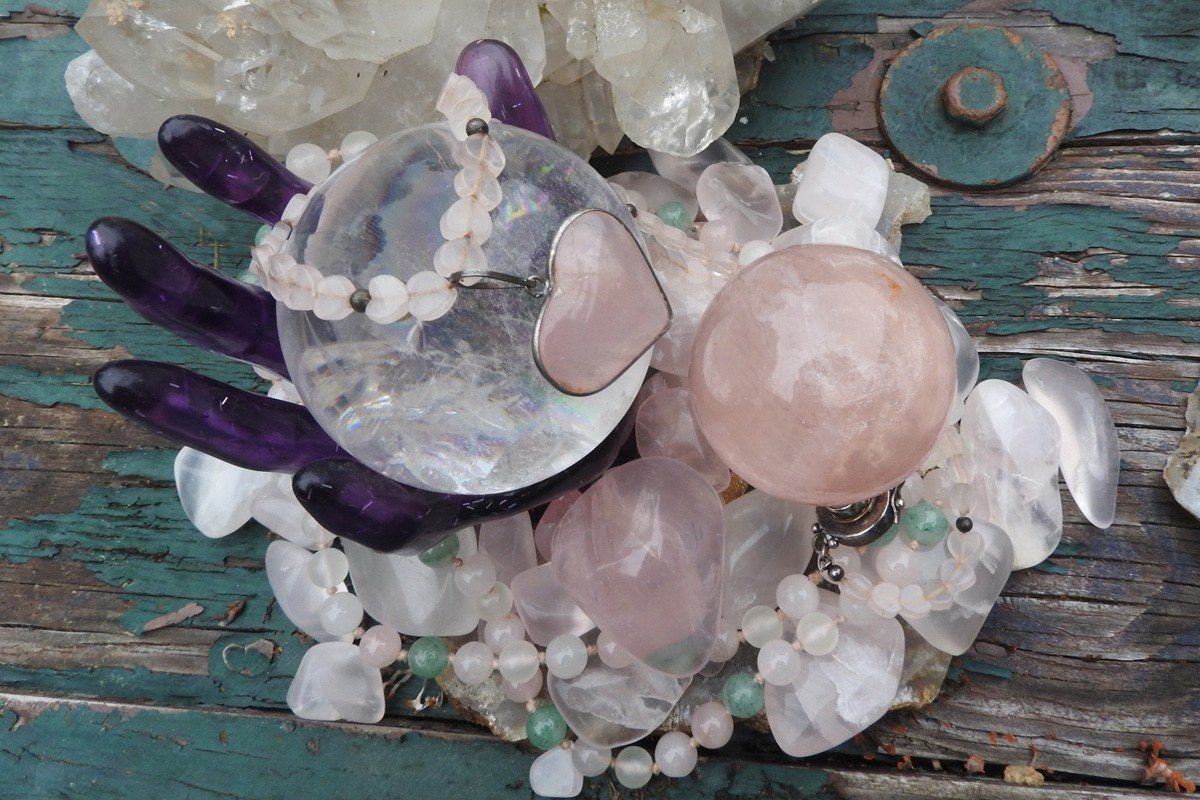Rose and Rock Quartz Crystal items owned by the Author