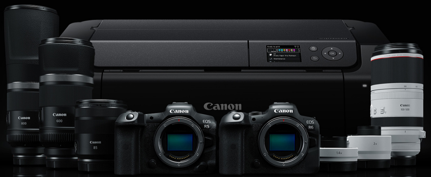Canon R5 and R6 cameras, new RF lenses and Pro-300 printer—picture from Canon
