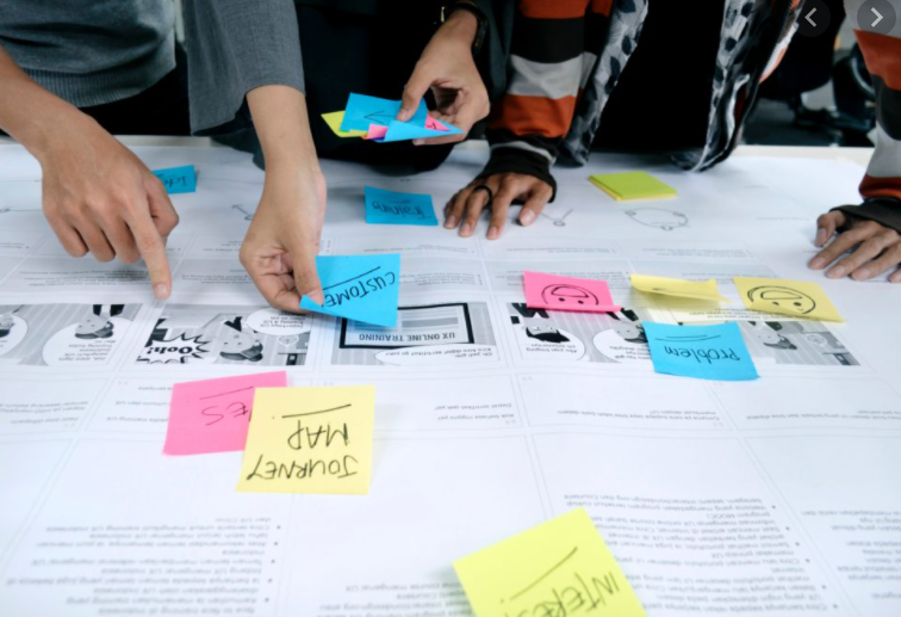 A desk covered in printouts of screeshots and text. People placing sticky notes on top.