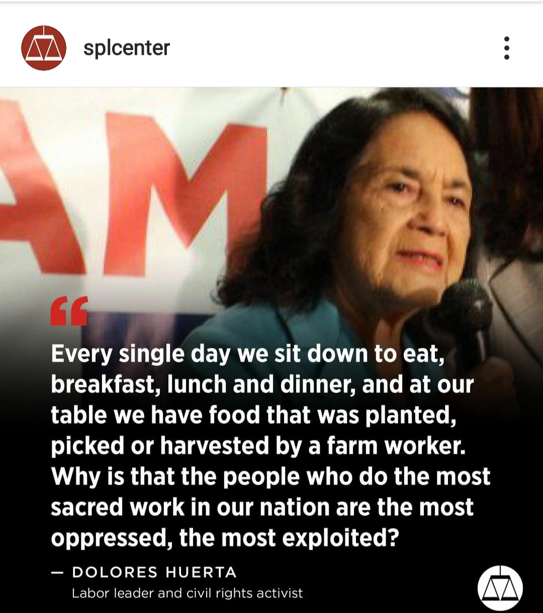 Image of Dolores Huerta, labor leader & civil rights activist asking why those that harvest our food are the most exploited.
