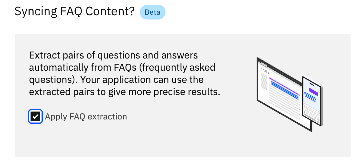 Image shows the checkbox to Apply FAQ extraction in Watson Discovery