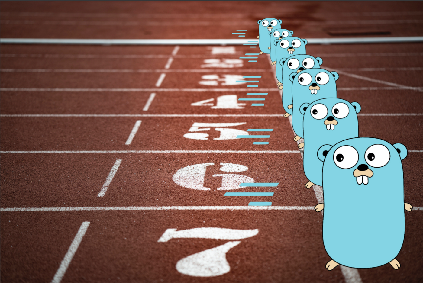 Go mascot on a running track