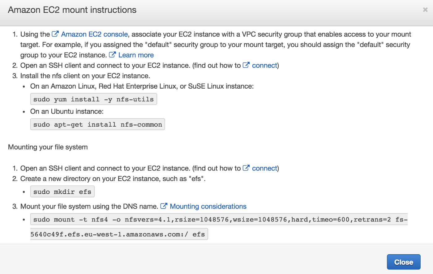 How To Mount Efs On Ec2 Linux
