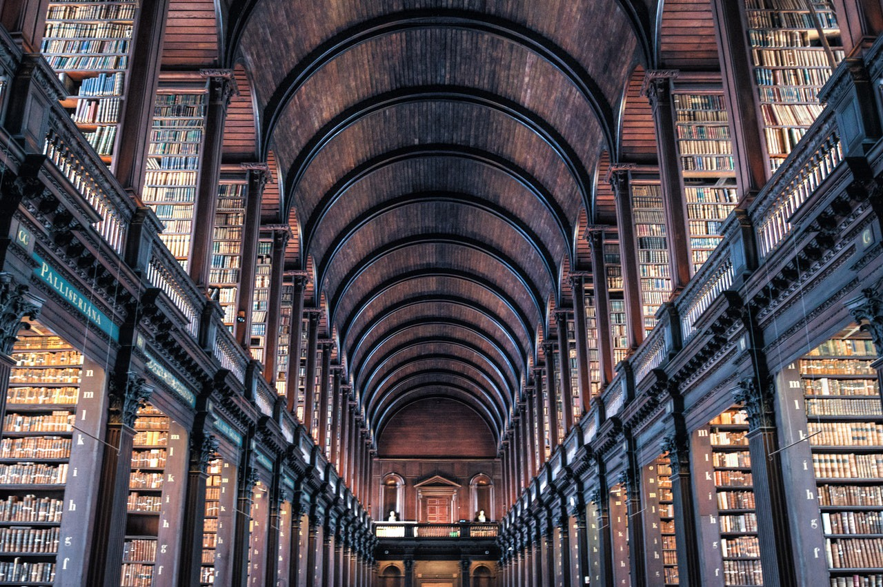 Rows of thousands of books with an arched ceiling. Possibly what heaven looks like.
