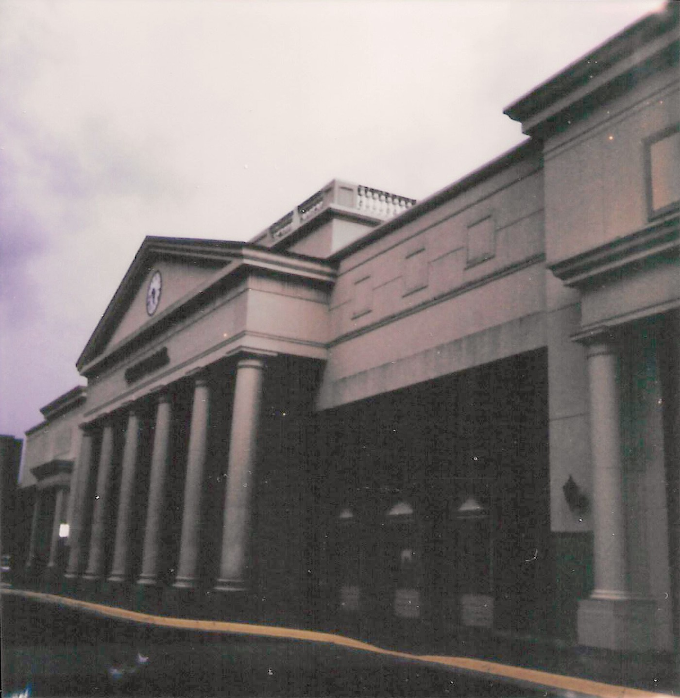a Polaroid picture of a movie theater