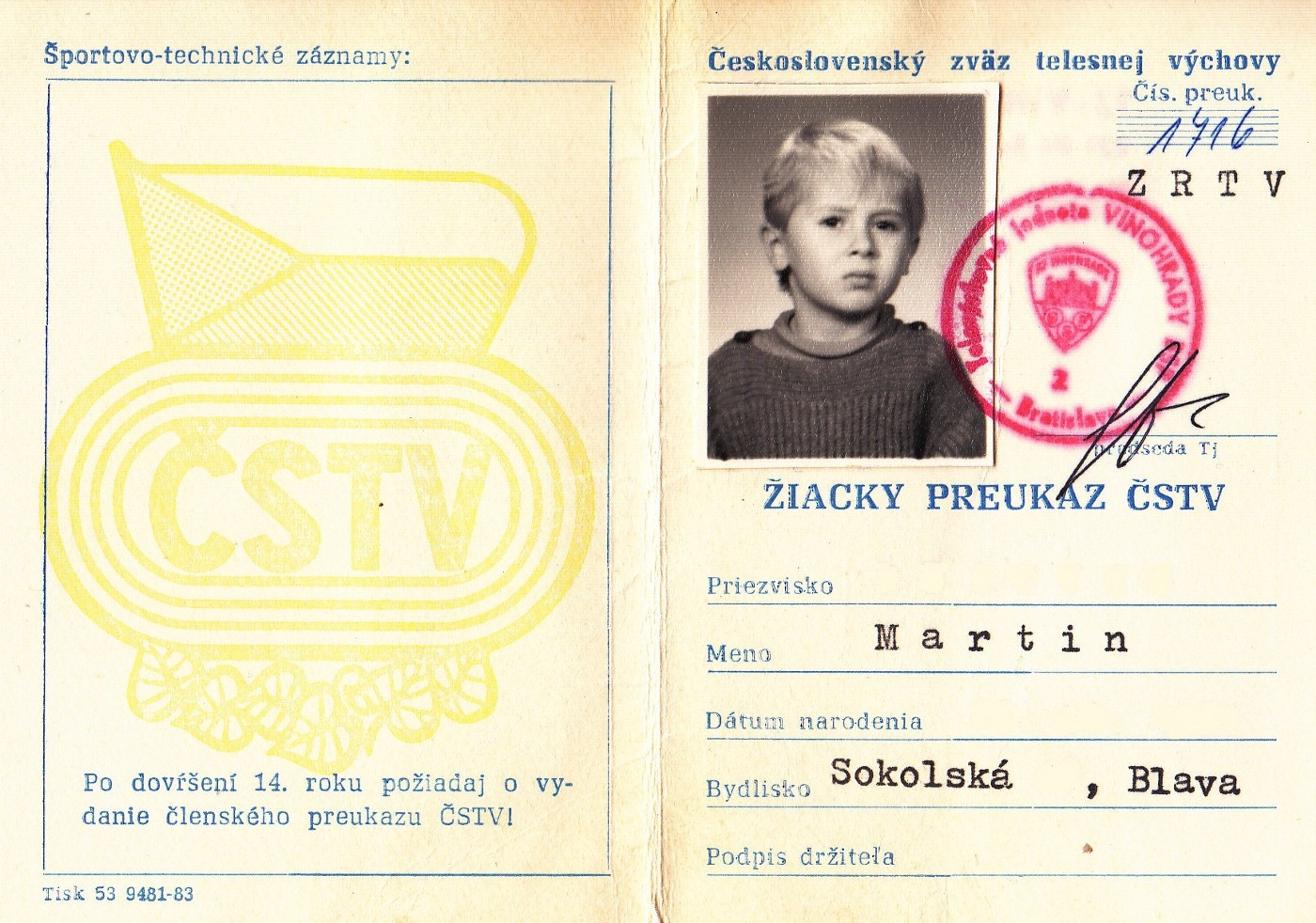 A childhood photo of the author's first ID from the now defunct country of Czechoslovakia.
