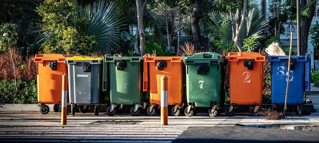 A bunch of trashcans