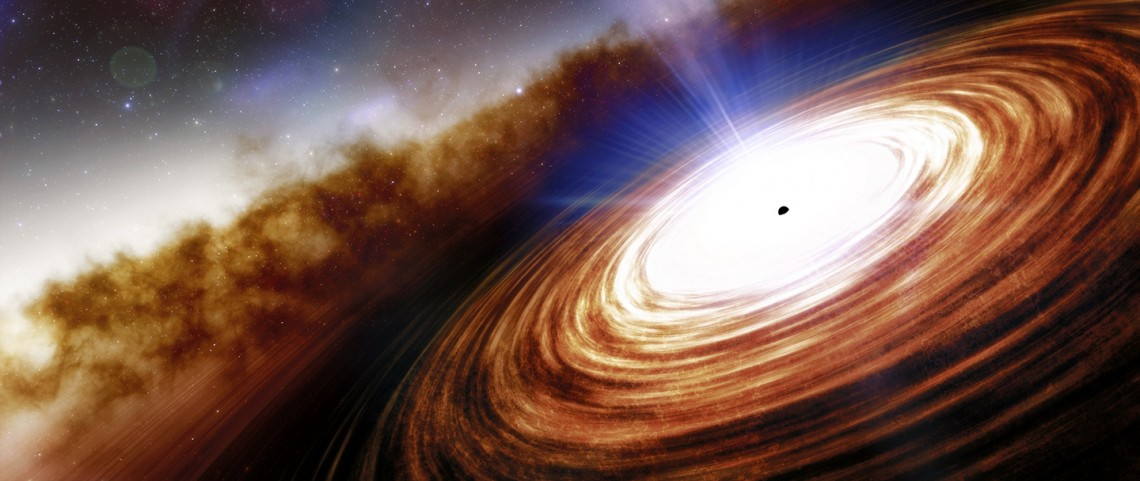 J0313–1806 shows a disk of gas and dust feeding a quasar, forming jets of energy.
