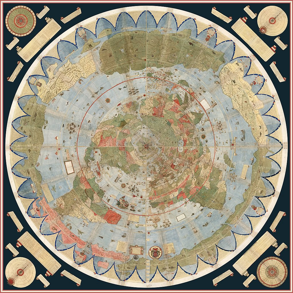 An antique circle-shaped world map projection. At its center is North Pole, with the northern hemisphere stretching south towards the borders of the circle.