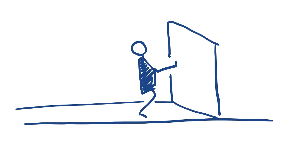 A stick figure confidently kicks their way through a door.