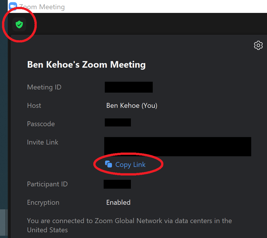 """A screenshot of the upper-left corner of a Zoom meeting window, with the green shield icon circled, showing the dialog that results from clicking it, with the """"copy link"""" button circled."""