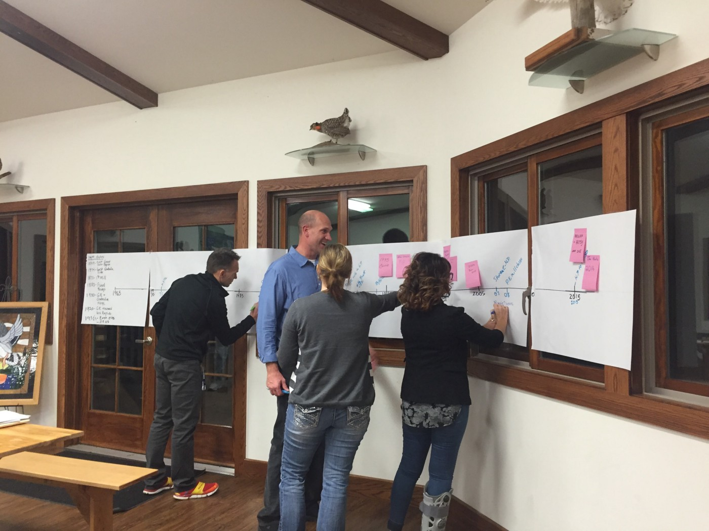Four people standing next to a long, horizontal piece of butcher paper with a timeline drawn on it. They are pointing and writing new dates on to it.
