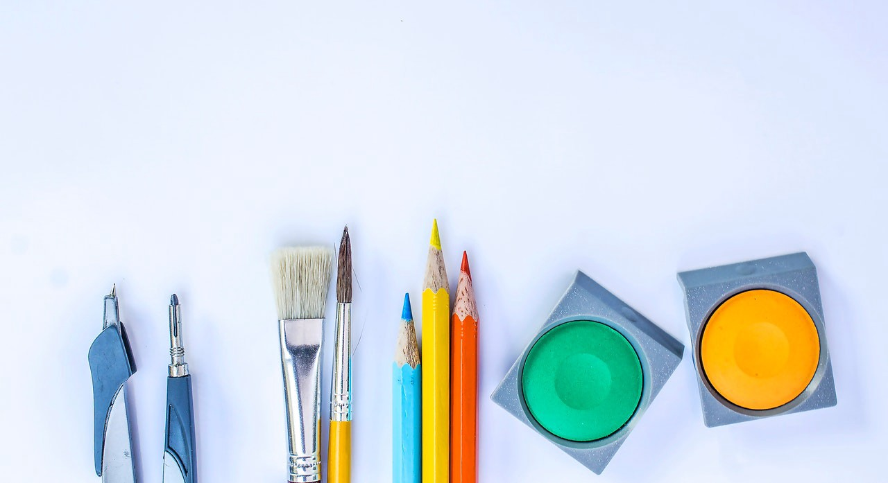 Coloring materials, including paintbrushes, pencils and paint
